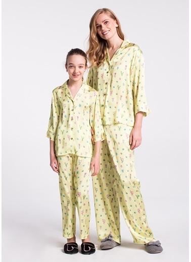 Dagi Kız Çocuk Gömlek Truvakar Kol Pijama Takımı Sarı